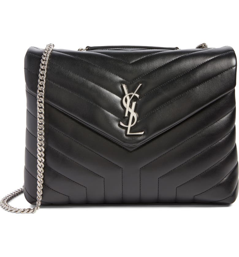 SAINT LAURENT Medium LouLou Calfskin Leather Shoulder Bag, Main, color, NERO