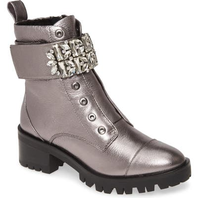 Karl Lagerfeld Paris Pippa Crystal Embellished Platform Boot- Metallic