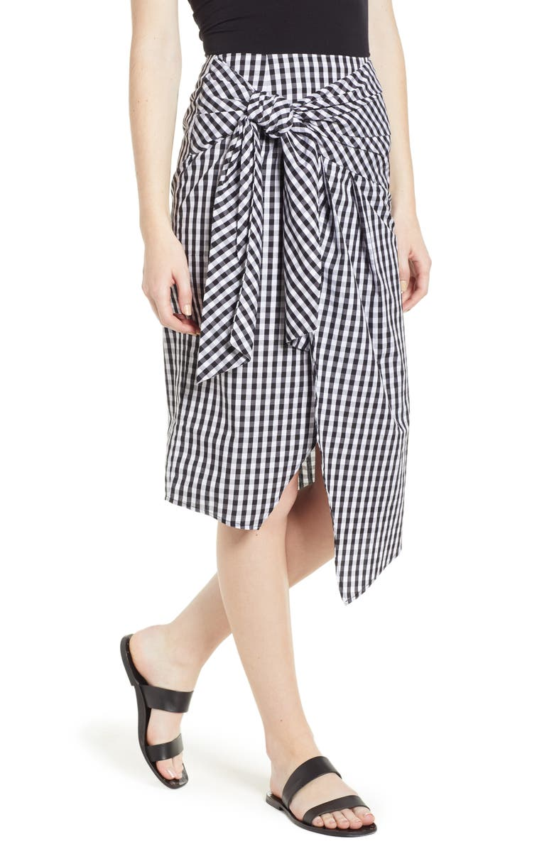 SOPRANO Gingham Tie Waist Skirt, Main, color, 001