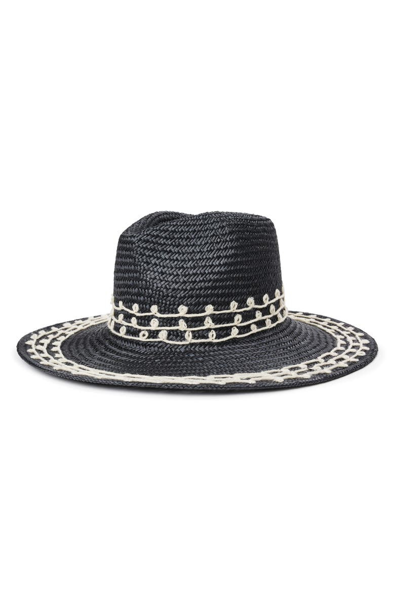 BRIXTON Joanna Embroidered Straw Hat, Main, color, BLACK