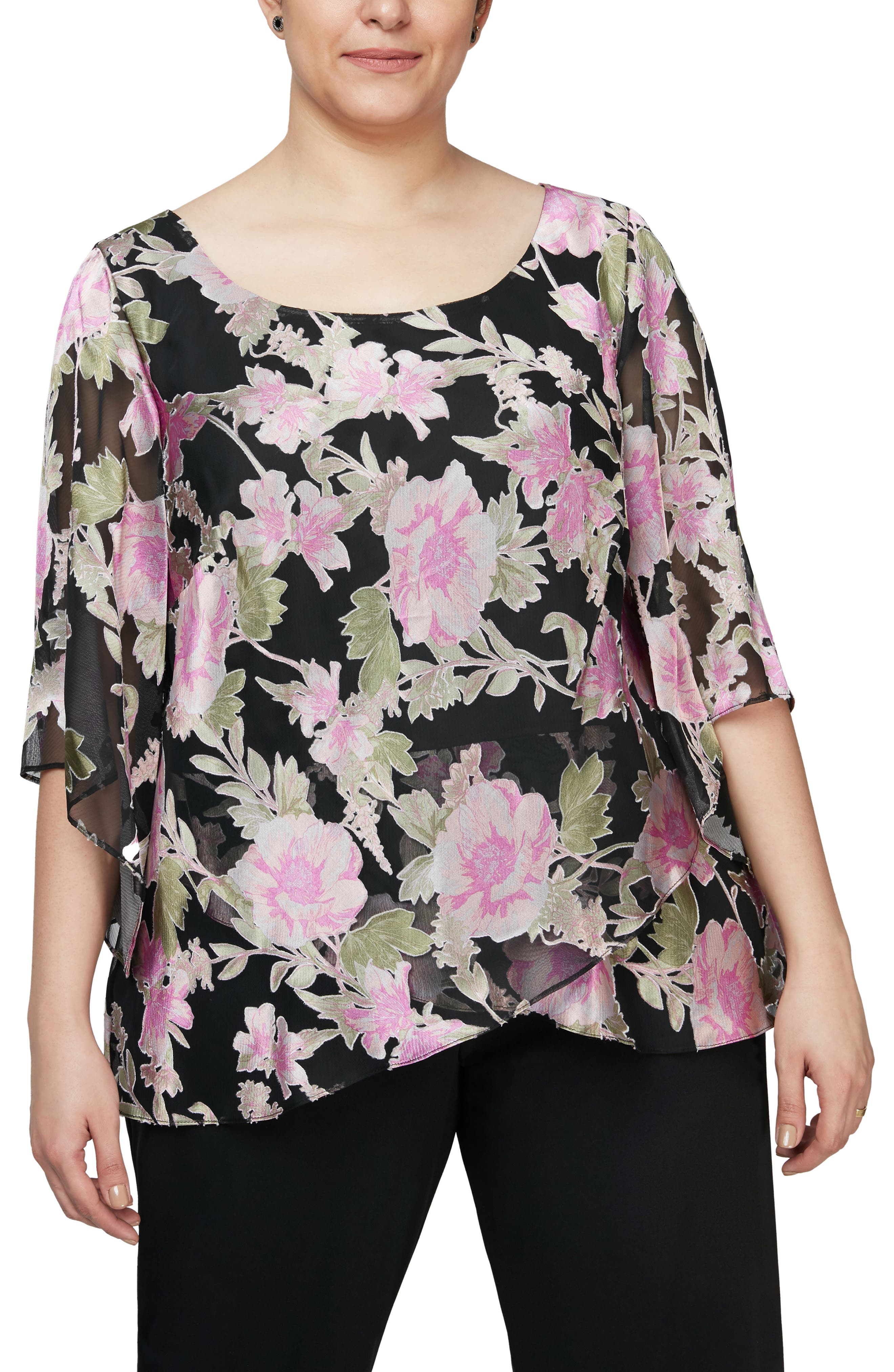 A rich floral print illustrates the shadow-striped chiffon of a floaty top that falls to a tulip-hem finish. A wide scooped neckline and angled sheer sleeves detail the elegant style. Style Name: Alex Evenings Floral Scoop Neck Blouse (Plus Size). Style Number: 6102728. Available in stores.