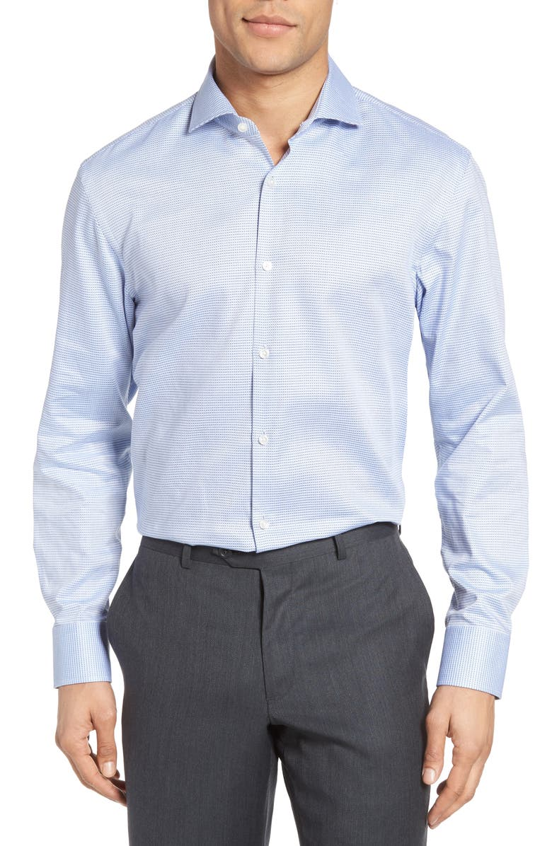 BOSS Mark Sharp Fit Geometric Dress Shirt, Main, color, 450
