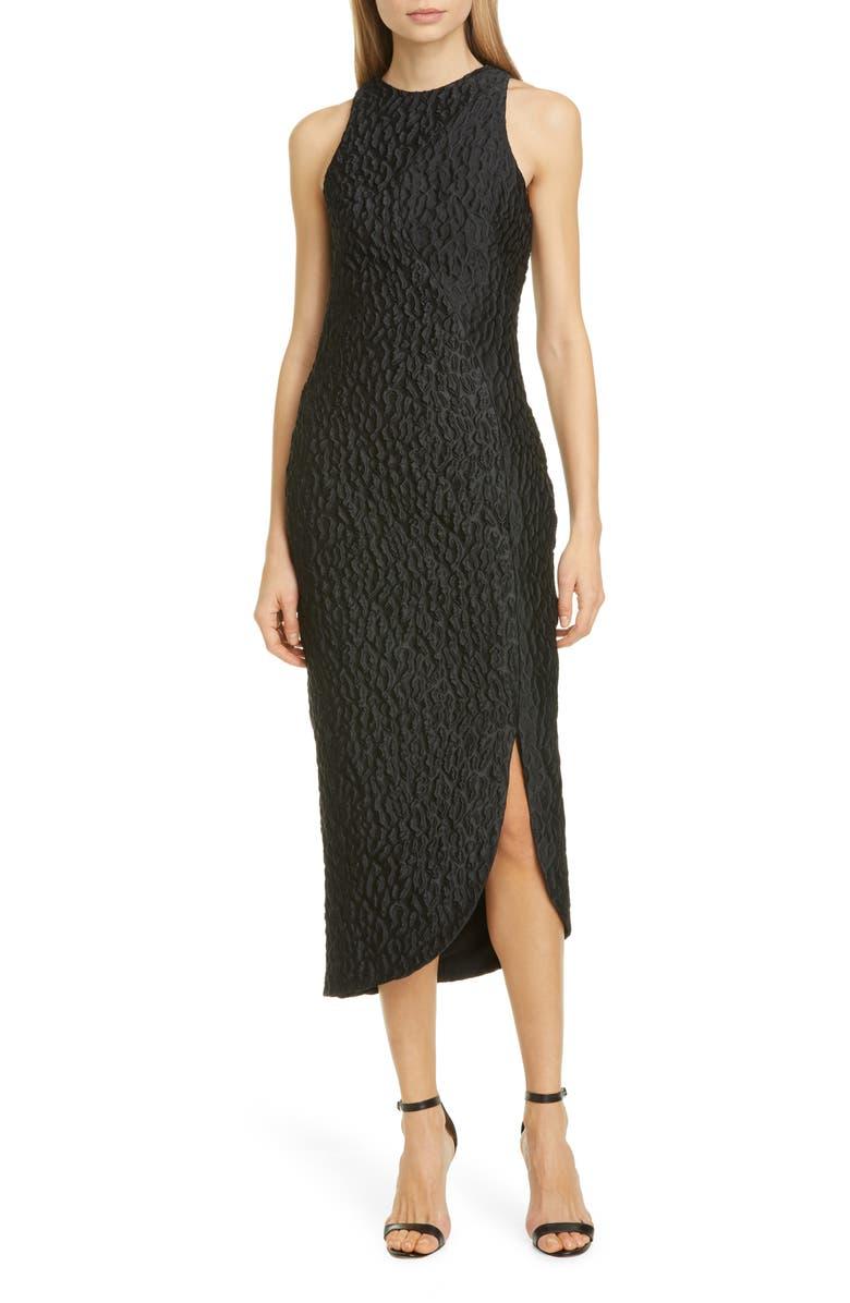 BRANDON MAXWELL Asymmetrical Leopard Jacquard Dress, Main, color, BLACK
