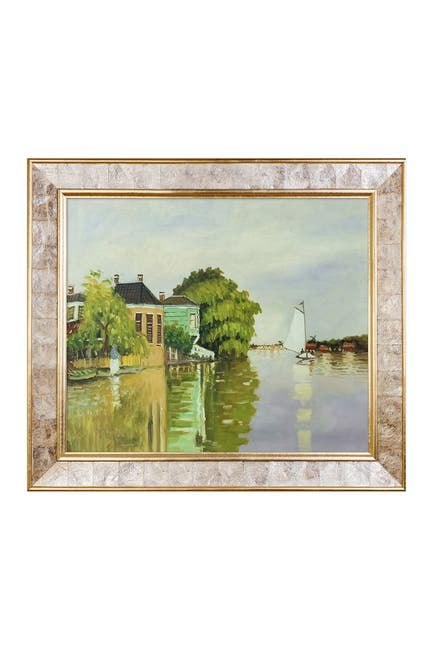 Image of Overstock Art Houses on the Achterzaan Framed Painting by Claude Monet
