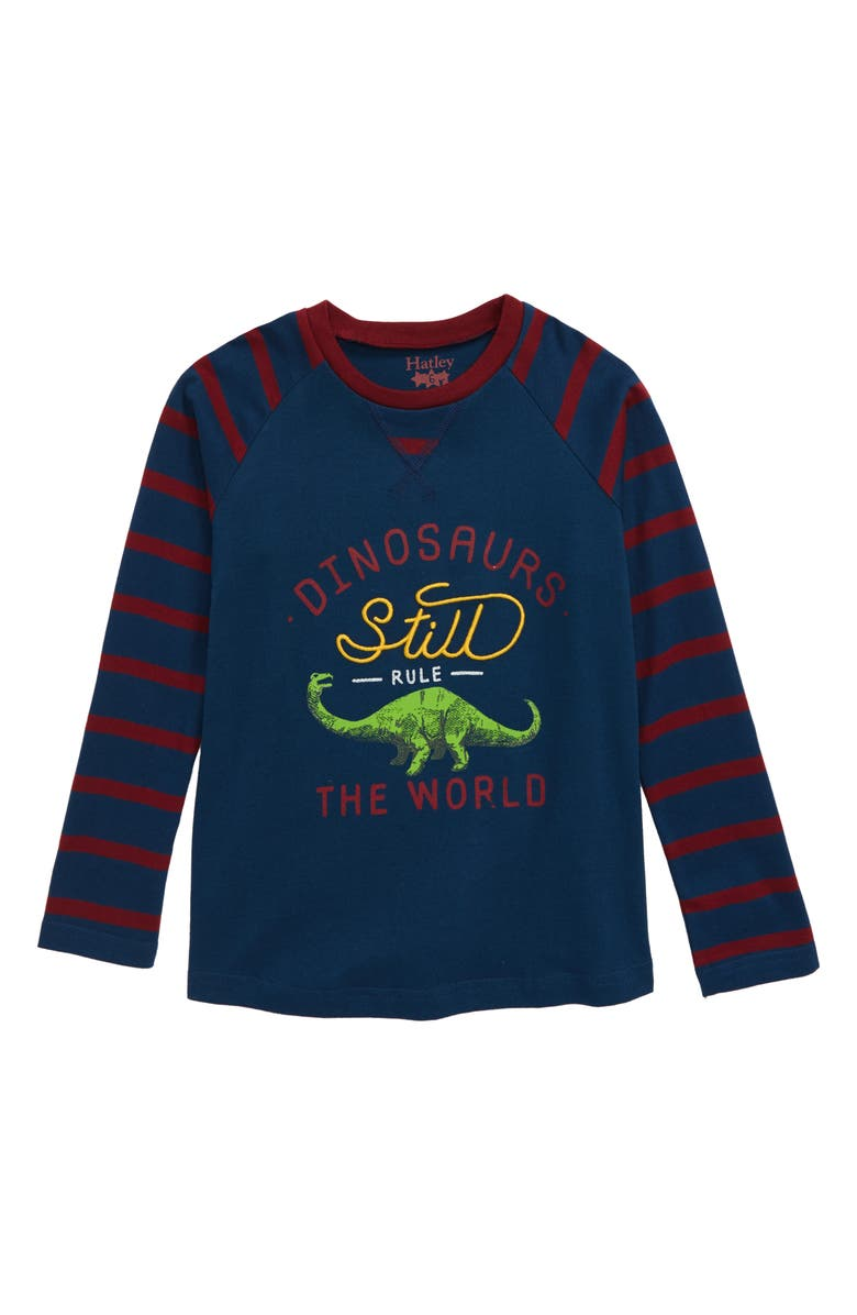 HATLEY Dinos Rule Raglan Shirt, Main, color, BLUE