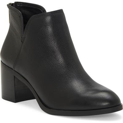 Enzo Angiolini Jainn Leather Block Heel Bootie- Black