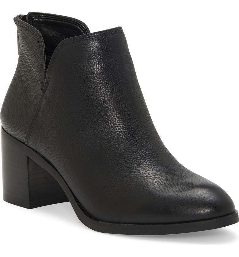 ENZO ANGIOLINI Jainn Leather Block Heel Bootie, Main, color, BLACK LEATHER