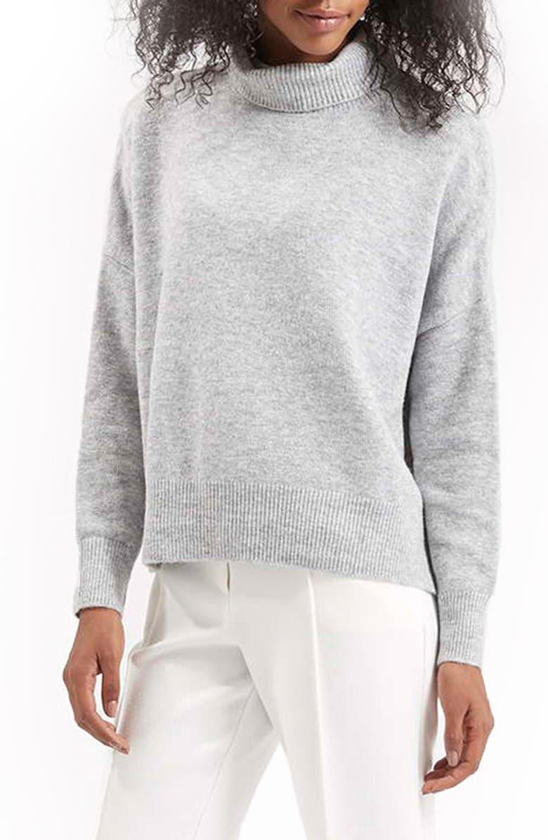 TOPSHOP Back Zip Turtleneck Sweater, Main, color, 050
