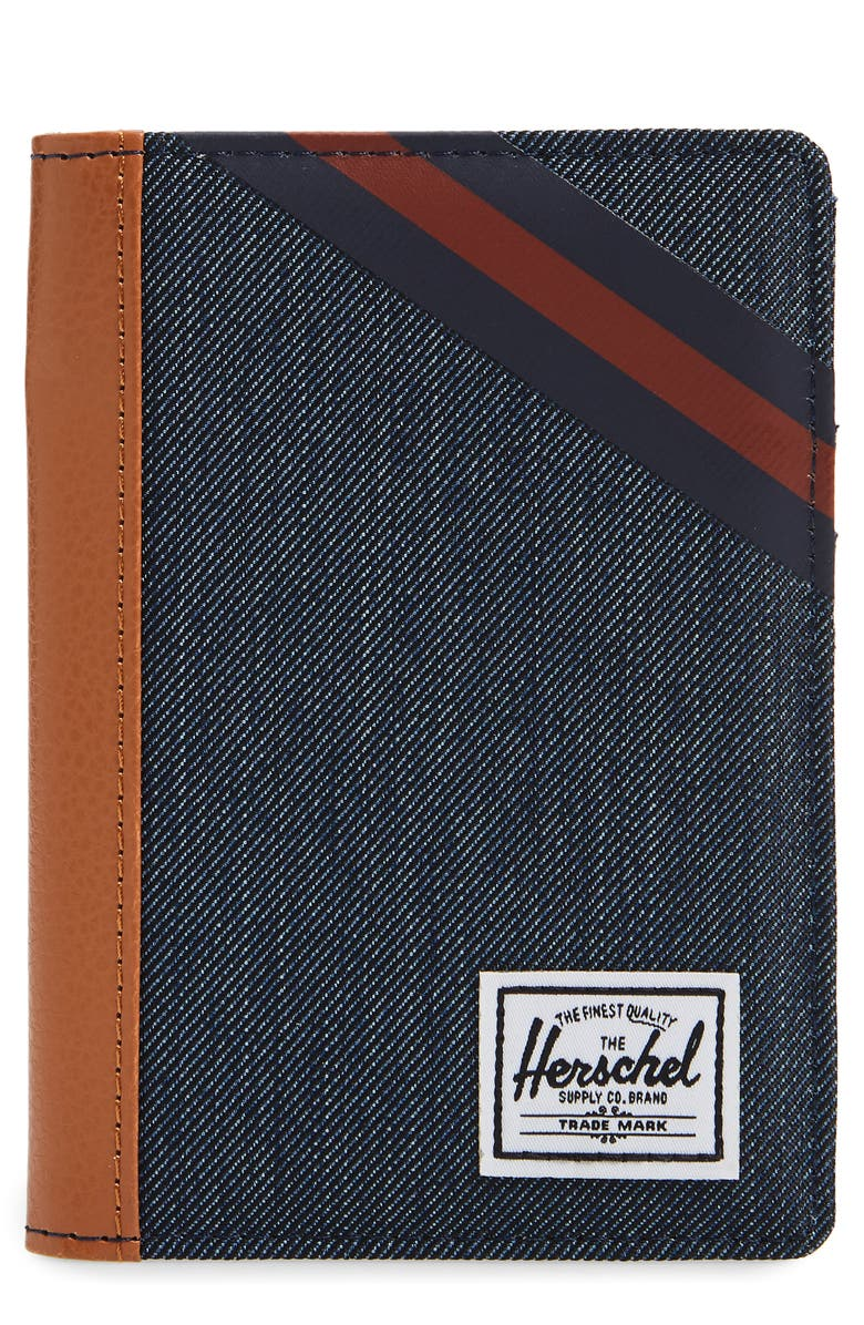 HERSCHEL SUPPLY CO. Raynor Passport Case, Main, color, INDIGO DENIM/ PEACOAT/ PICANTE