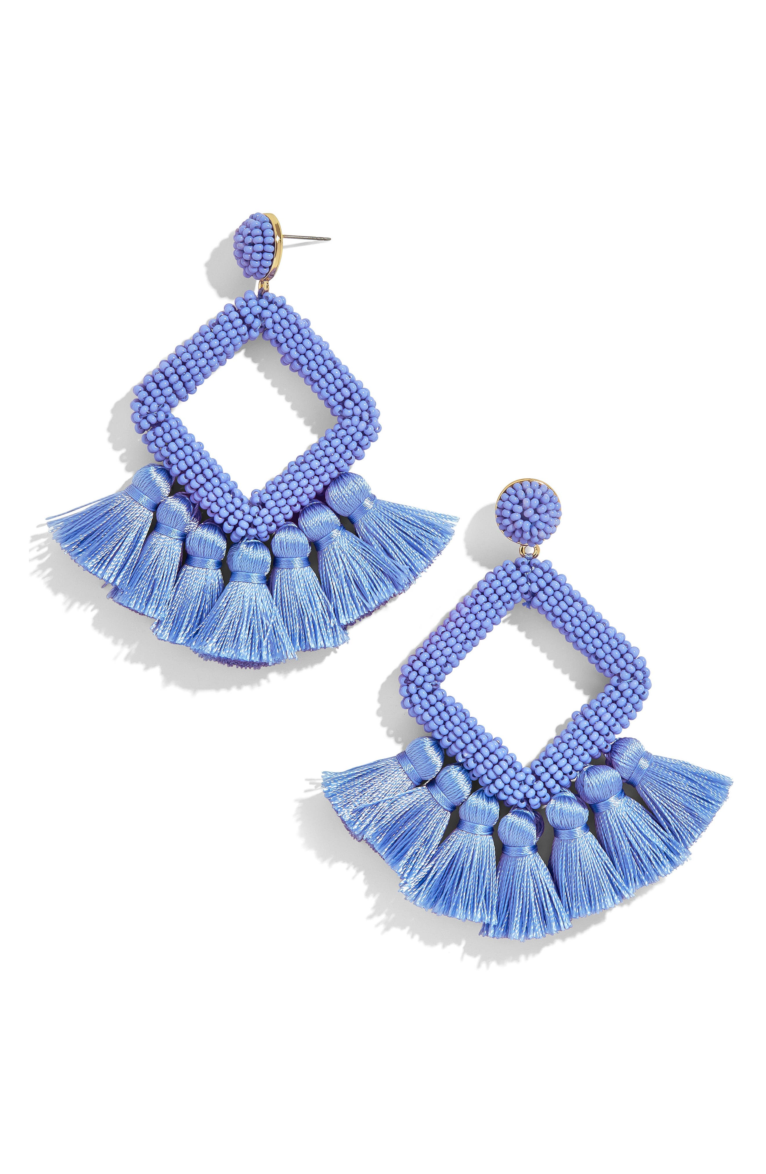 Laniyah Tassel Statement Earrings, Main, color, BLUE