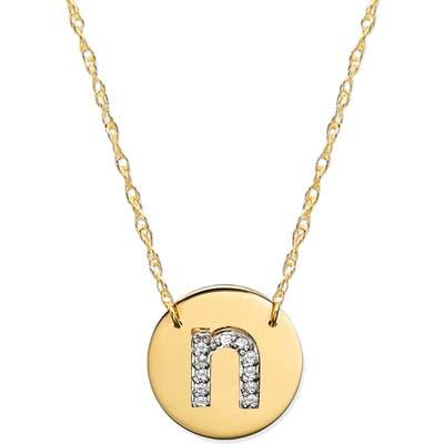 Jane Basch Designs Diamond Initial Disc Pendant Necklace
