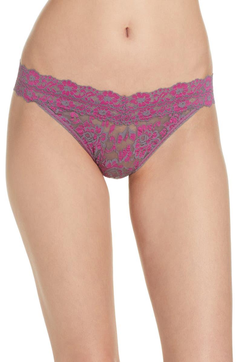 HANKY PANKY Regular Rise Cross Dye Thong, Main, color, GREY-BRIGHT AMETHYST