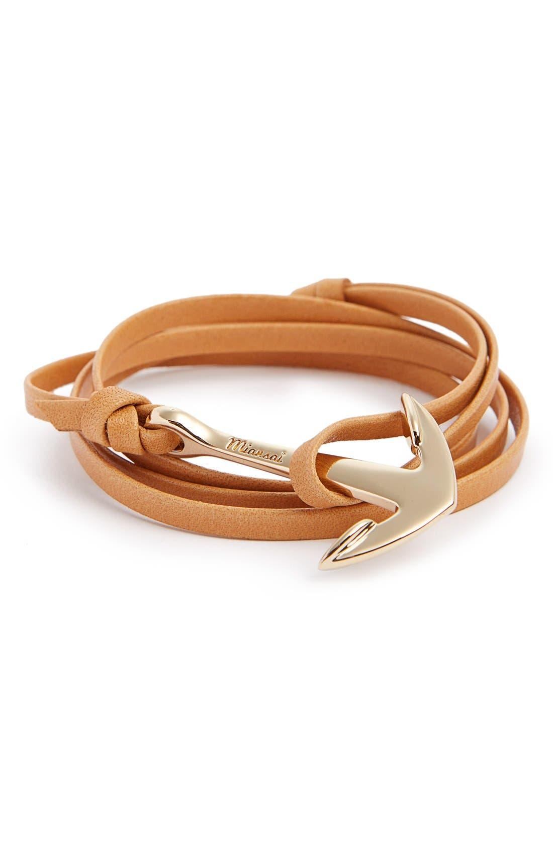 ,                             Gold Anchor Leather Bracelet,                             Main thumbnail 10, color,                             250
