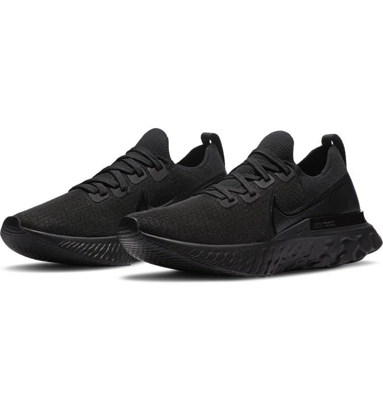 NIKE React Infinity Run Flyknit Running Shoe, Main, color, BLACK/ BLACK/ BLACK/ WHITE