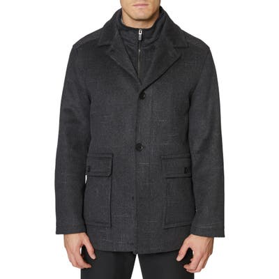 Hickey Freeman Brushstroke Wool Blend Coat, Grey