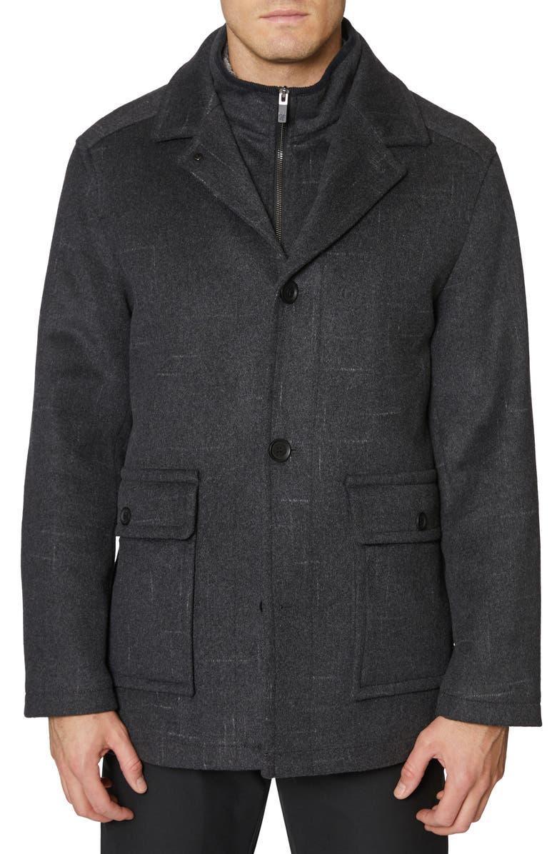 HICKEY FREEMAN Brushstroke Wool Blend Coat, Main, color, 022
