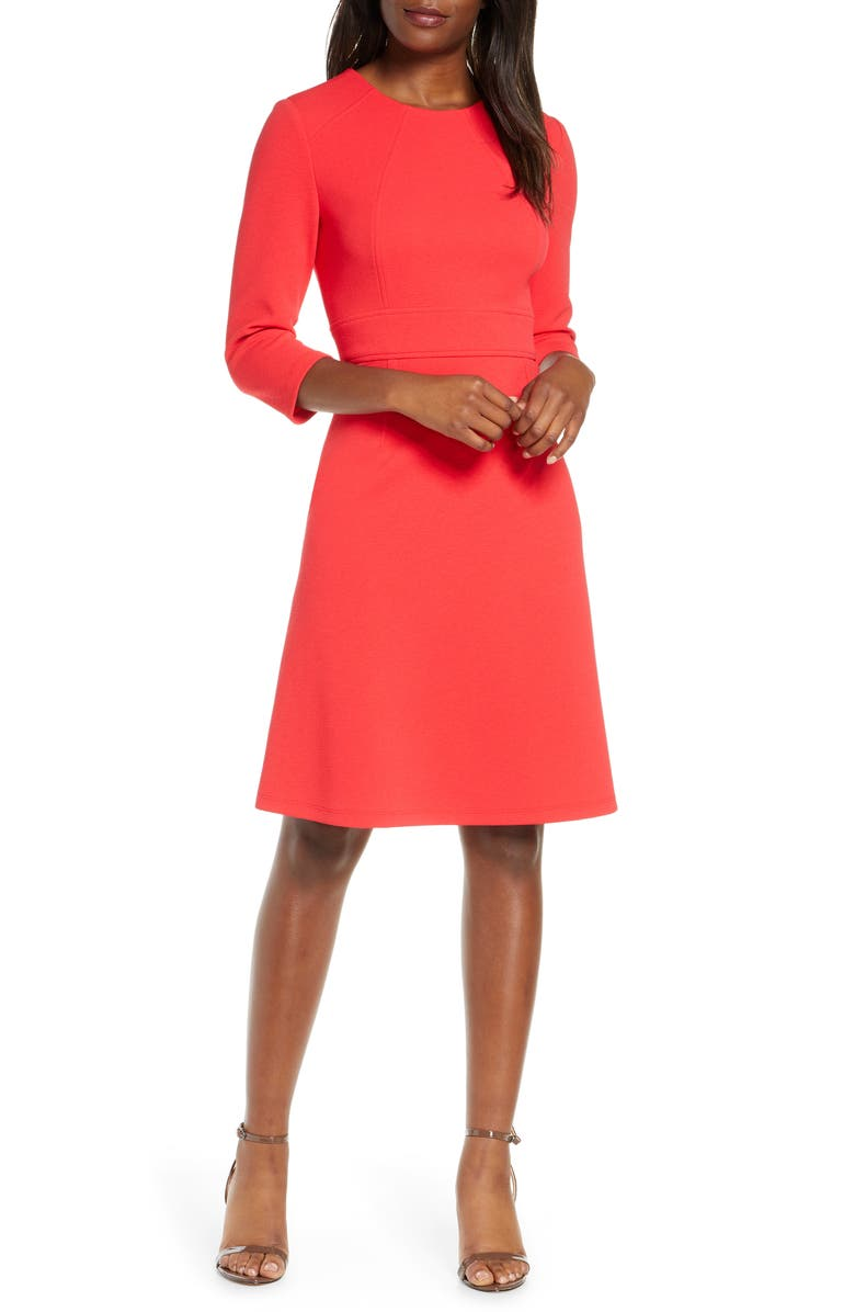MAGGY LONDON Structured Seam A-Line Dress, Main, color, CANDY APPLE