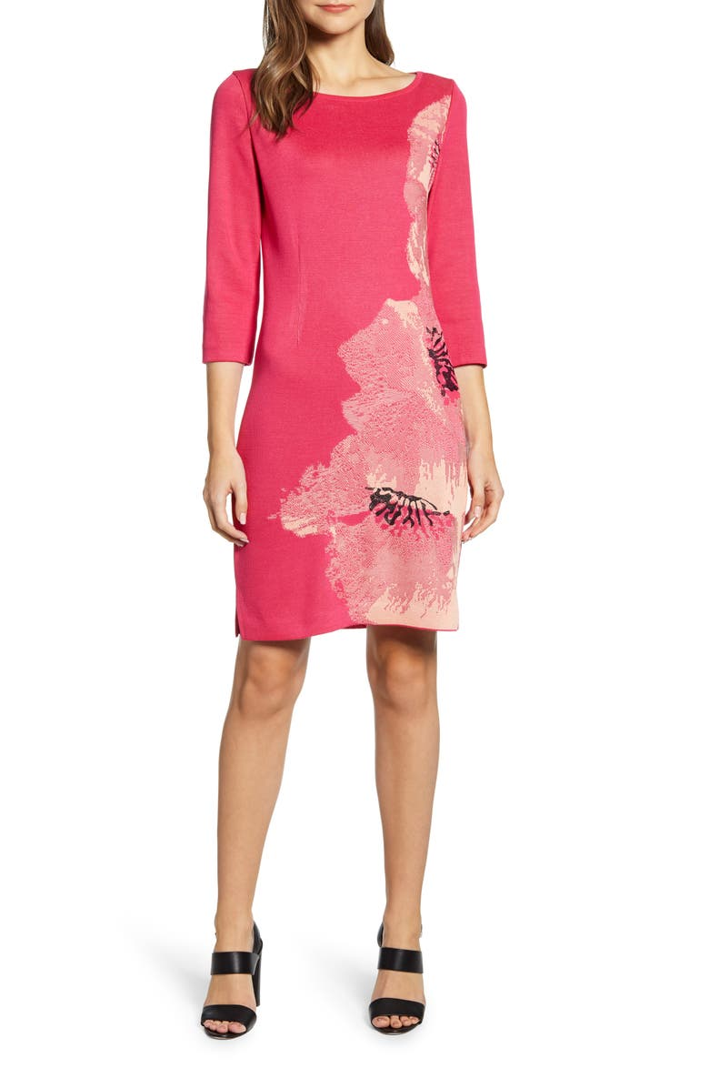MING WANG Floral Knit Sheath Dress, Main, color, 659