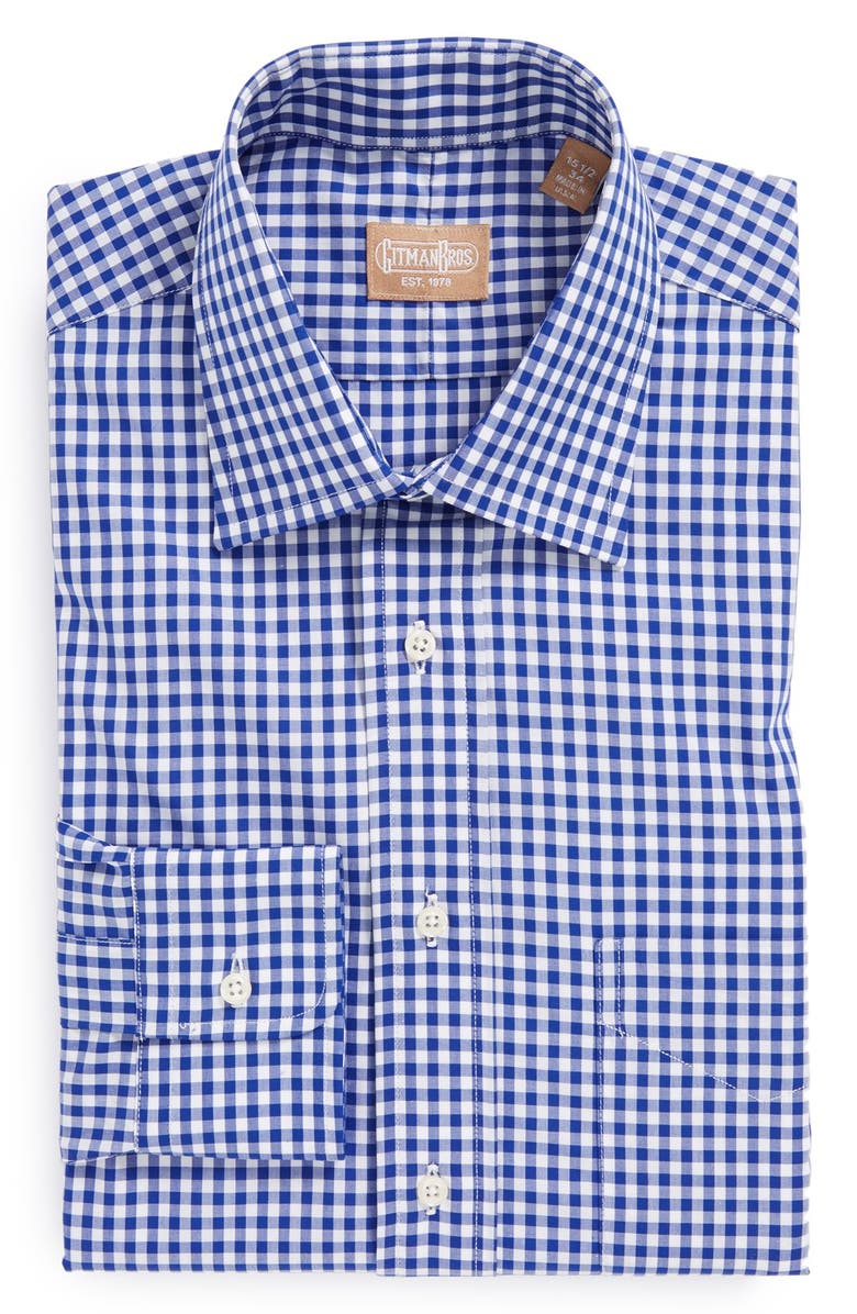 GITMAN Regular Fit Cotton Gingham English Spread Collar Dress Shirt, Main, color, BLUE
