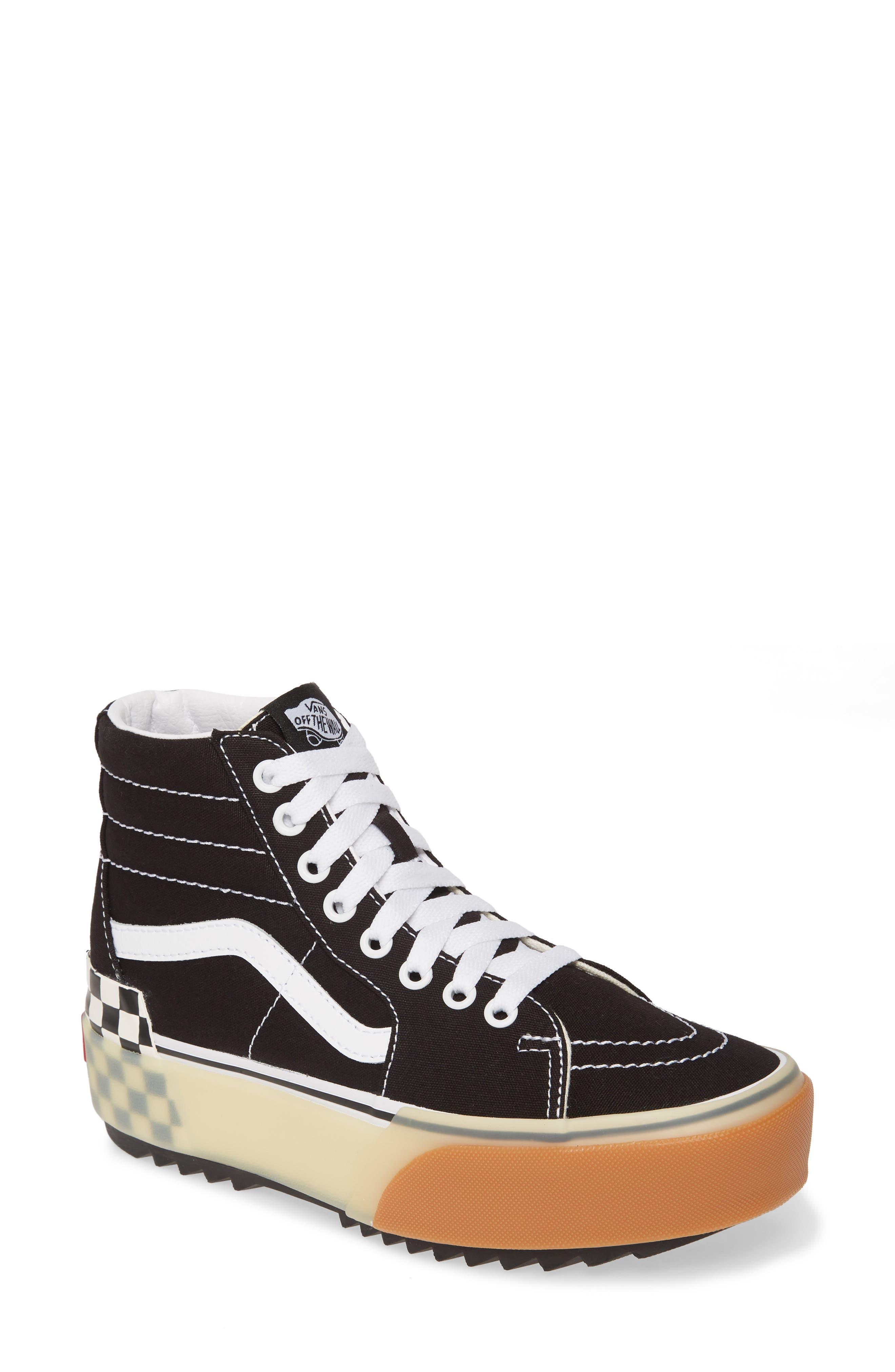 Vans Sk8-Hi Stacked Check Platform High Top Sneaker, Black
