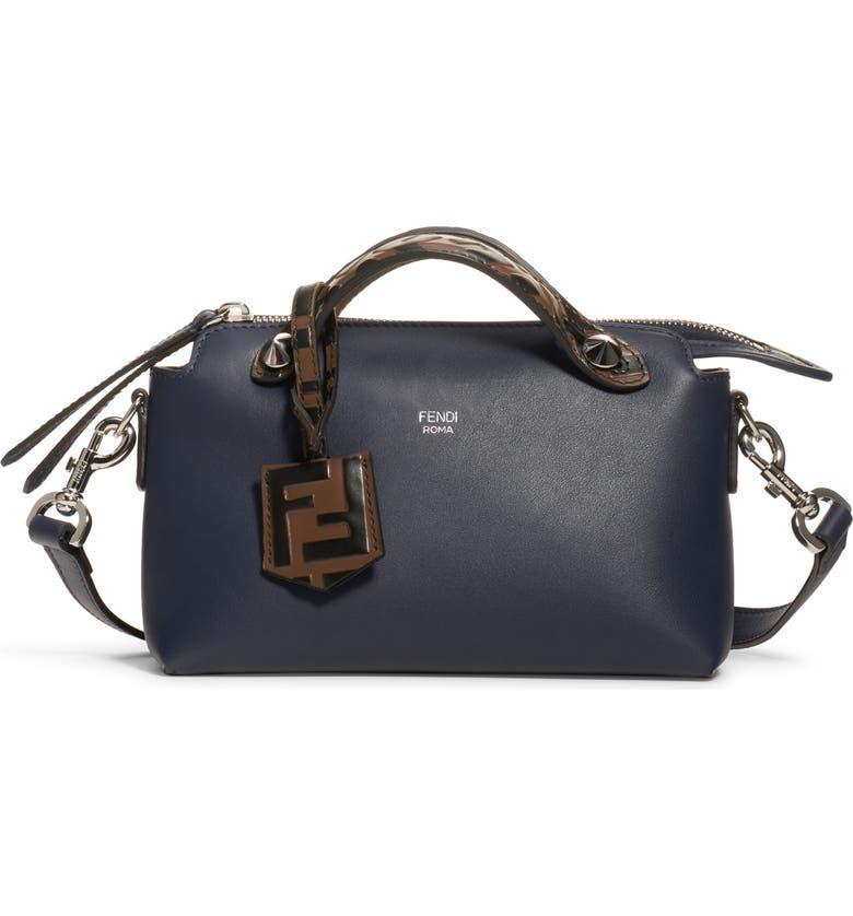 FENDI Mini By The Way Leather Crossbody Bag, Main, color, MIDNIGHT/MAYA BLACK/ PALLADIUM