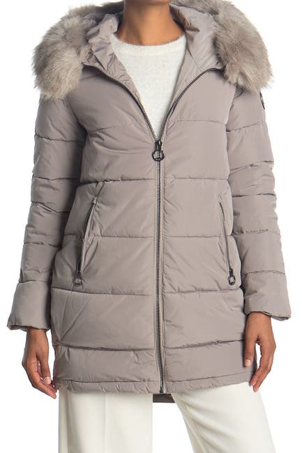 Image of DKNY Zip Front Coat with Faux Fur Hood