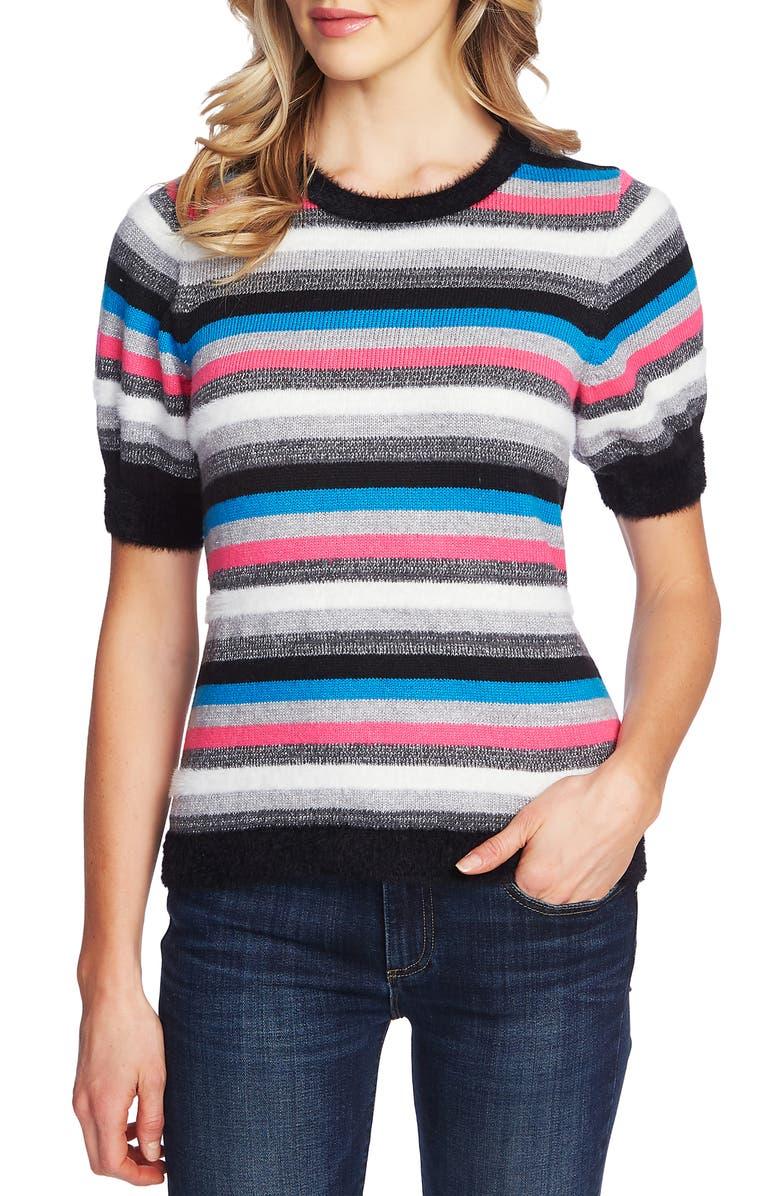 CECE Metallic Stripe Short Sleeve Sweater, Main, color, RICH BLACK