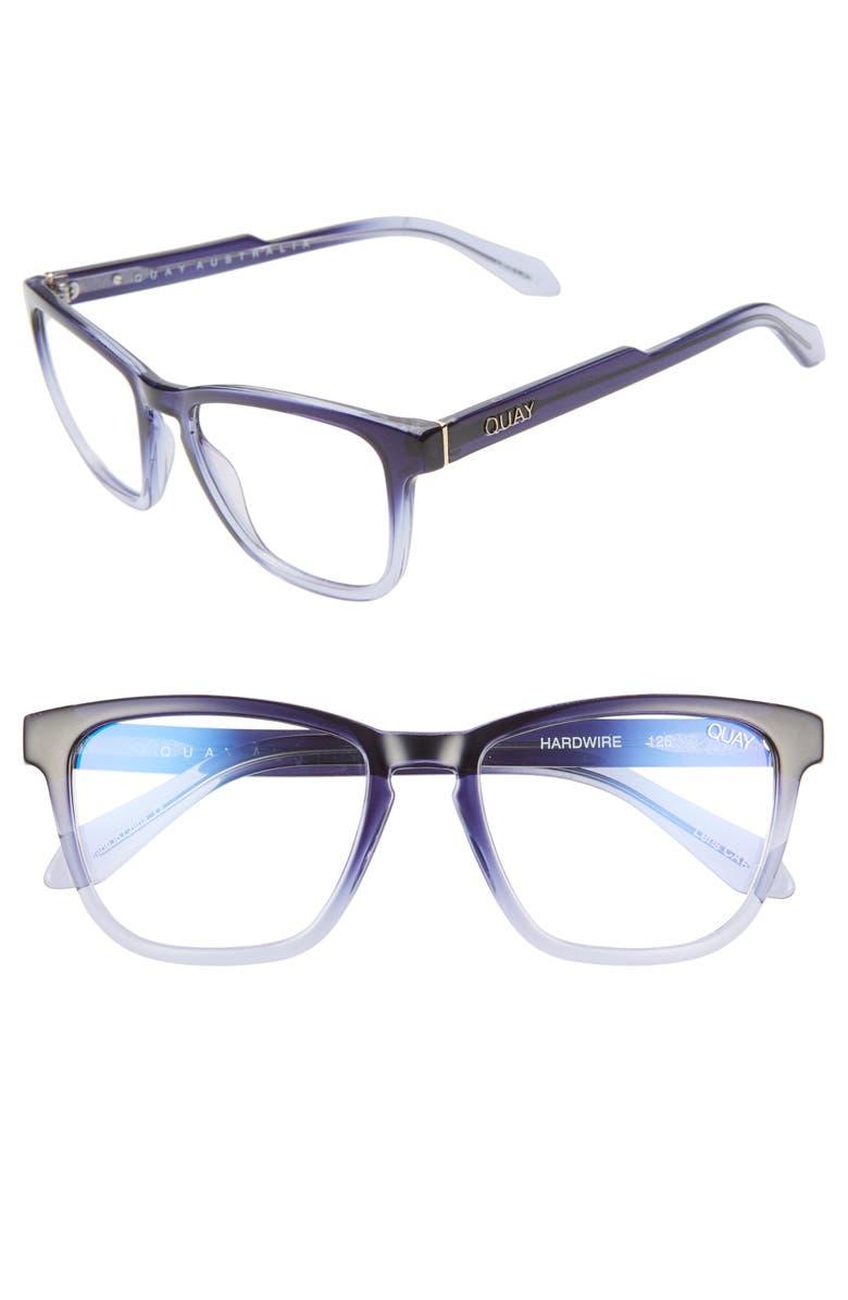 QUAY AUSTRALIA Hardwire 54mm Blue Light Blocking Glasses, Main, color, NAVY FADE