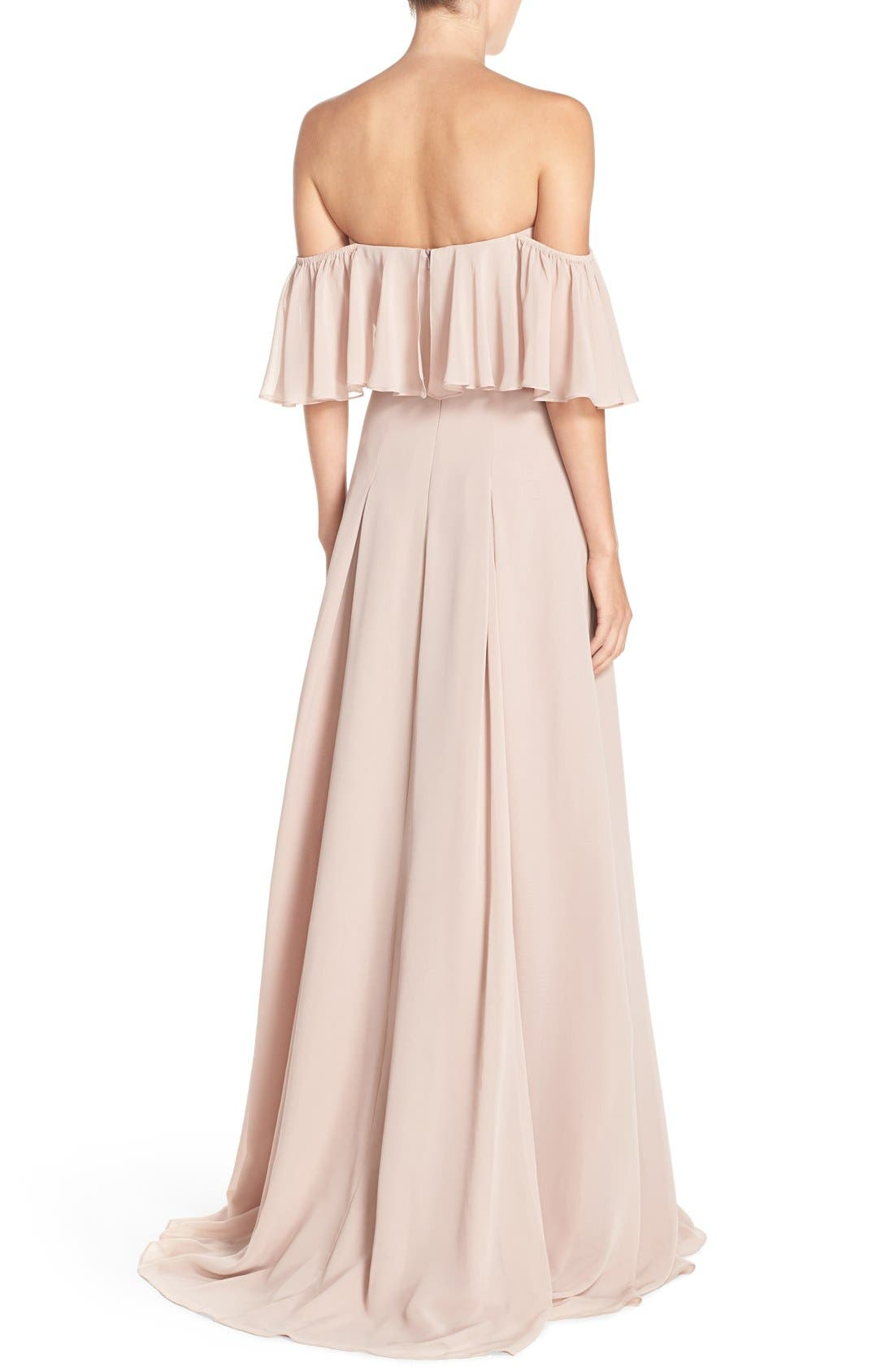 ,                             Off the Shoulder Chiffon Gown,                             Main thumbnail 9, color,                             685