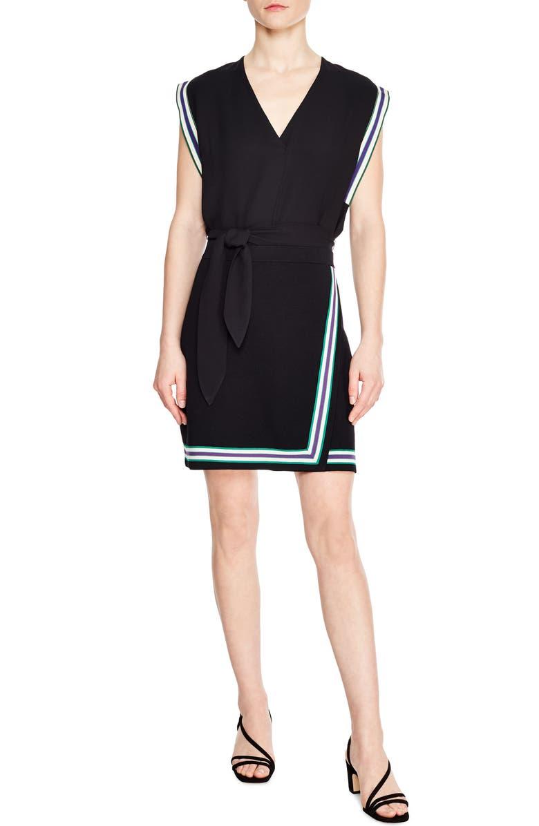 SANDRO Elodie Stripe Miniskirt, Main, color, 001