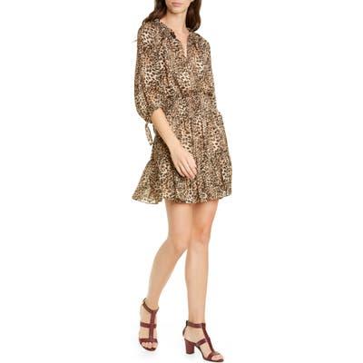 Rebecca Taylor Klynx Smocked Silk Blend Dress, Brown