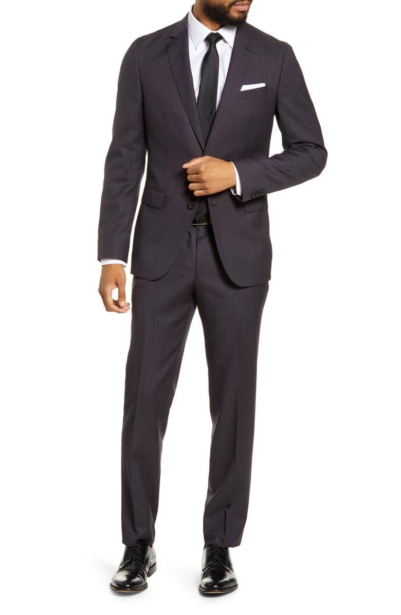 BOSS Novan/Ben Trim Fit Plaid Wool Suit, Main, color, DARK BROWN