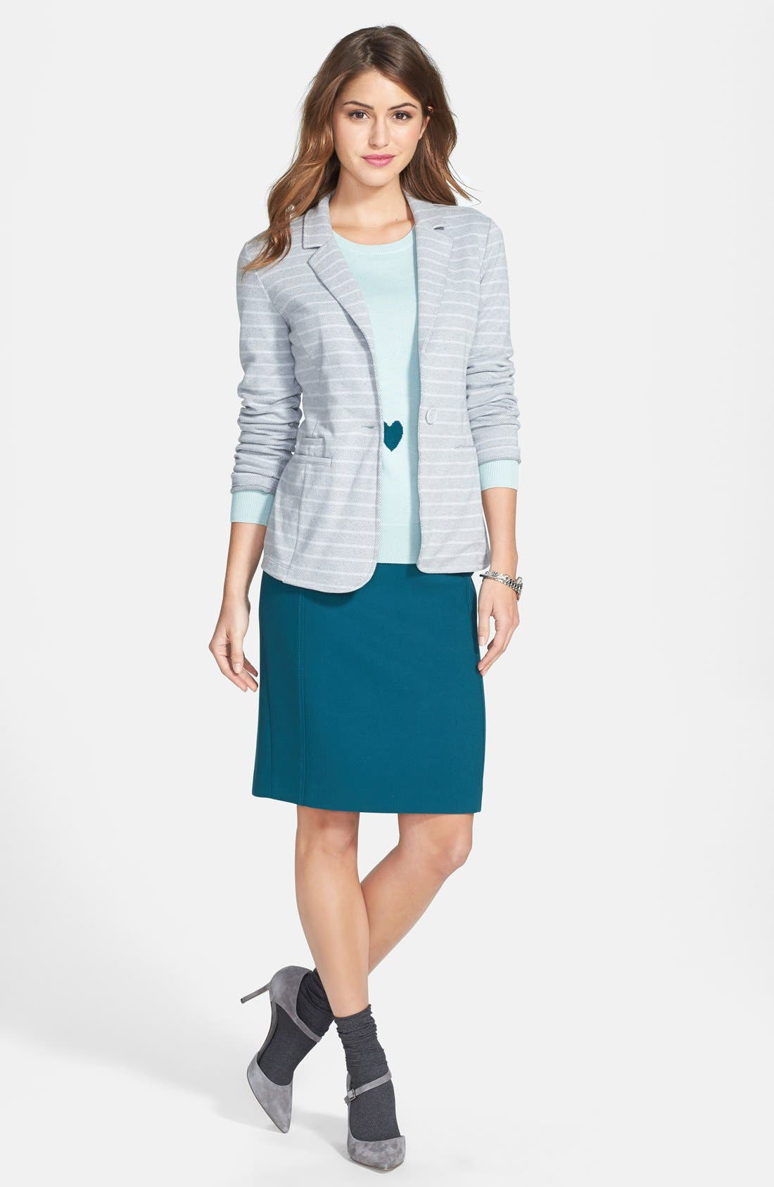,                             Roll Sleeve Knit Blazer,                             Alternate thumbnail 11, color,                             030