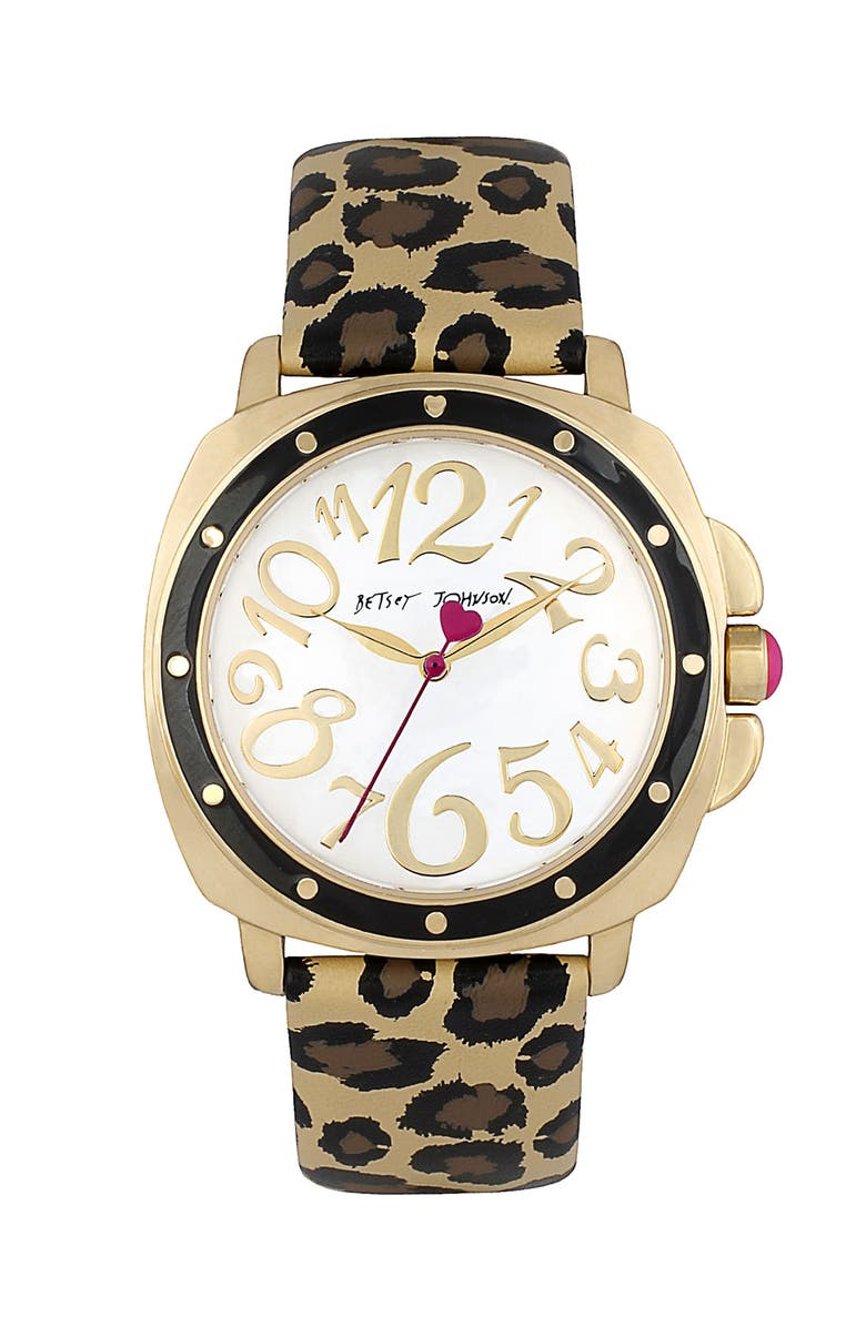 BETSEY JOHNSON Round Dial Leopard Strap Watch, Main, color, 710