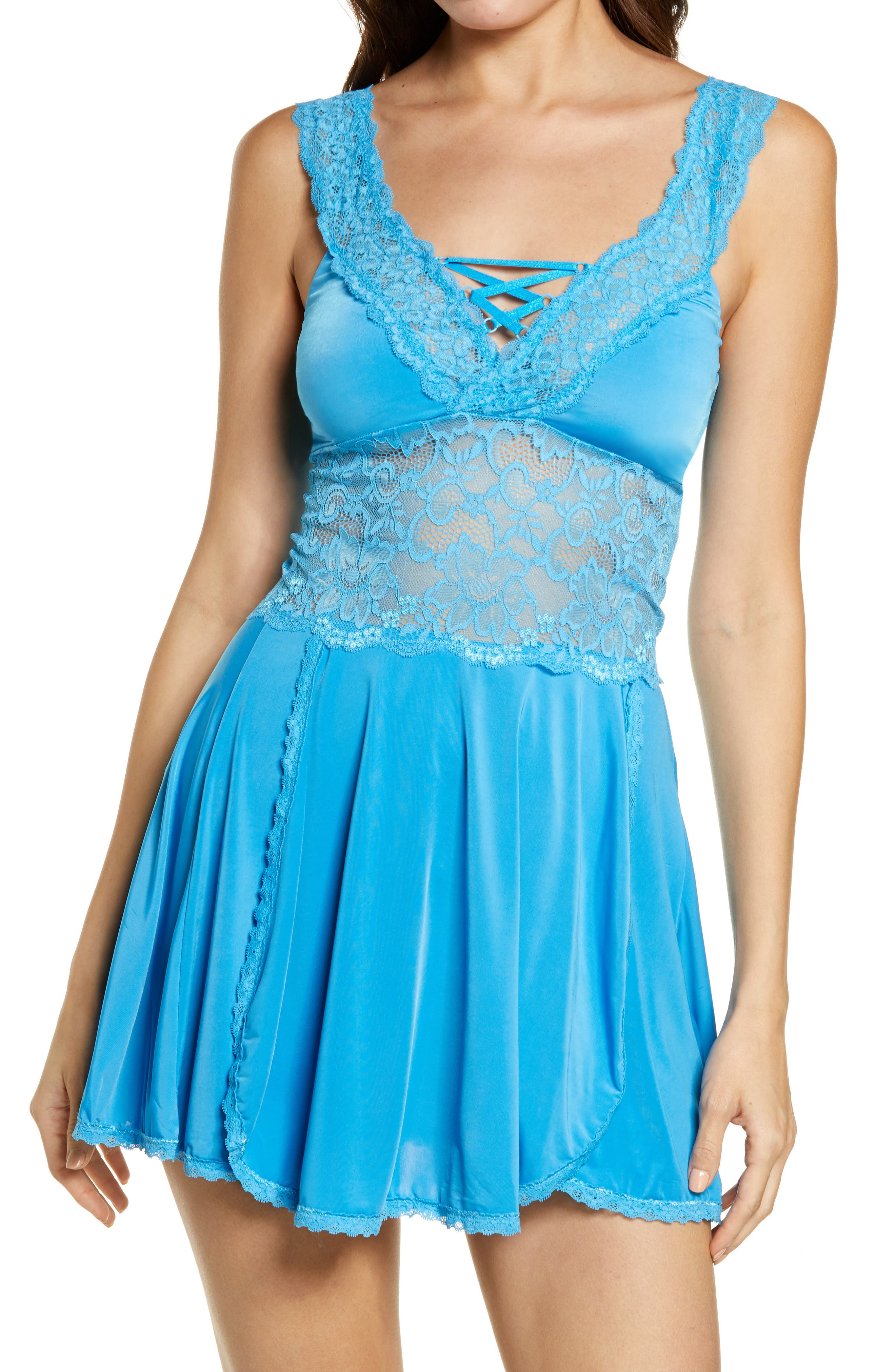 Lace Detail Babydoll Chemise & Thong