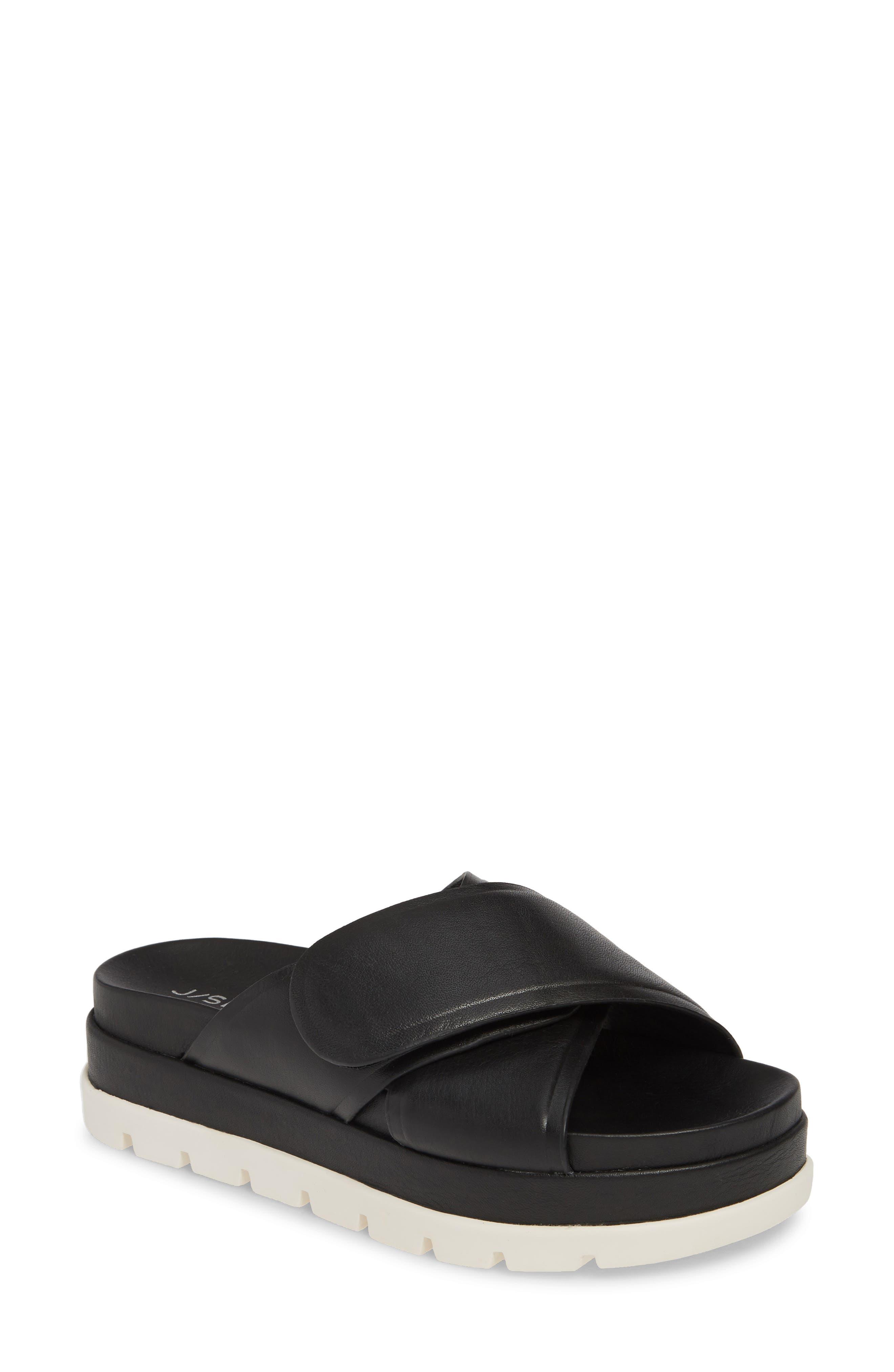 Jslides Bella Platform Slide Sandal, Black