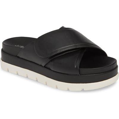 Jslides Bella Platform Slide Sandal- Black
