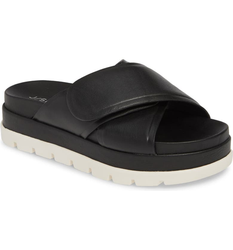 JSLIDES Bella Platform Slide Sandal, Main, color, BLACK LEATHER