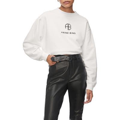 Anine Bing Ramona Monogram Cotton Sweatshirt, White