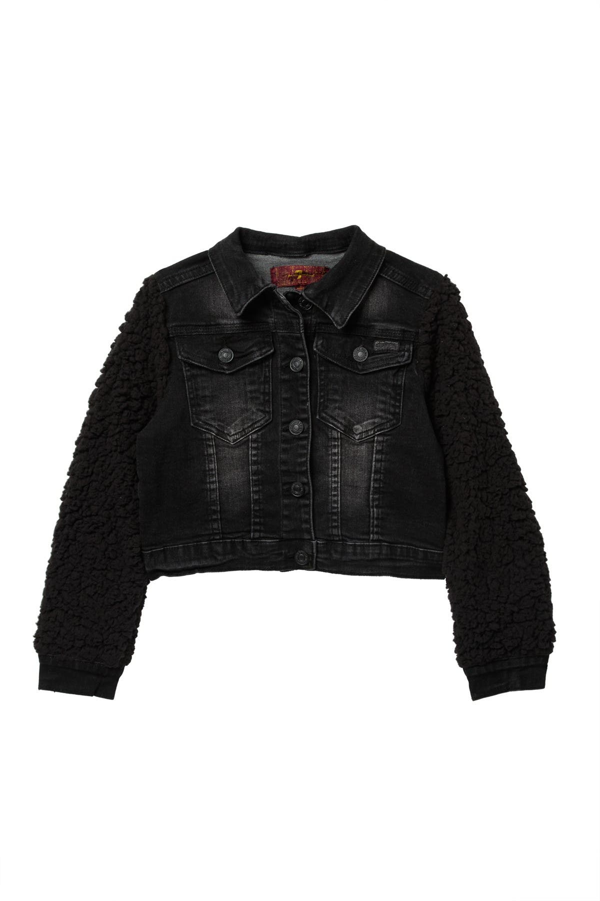 Image of 7 For All Mankind Faux Shearling Cropped Jean Jacket