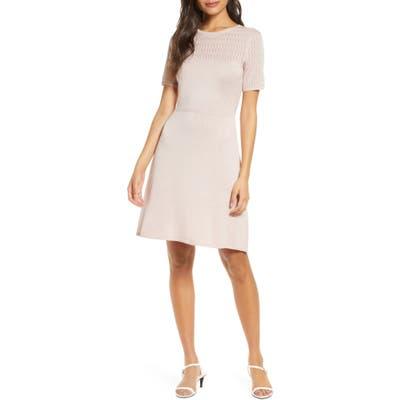 Julia Jordan Fit & Flare Sweater Dress, Pink