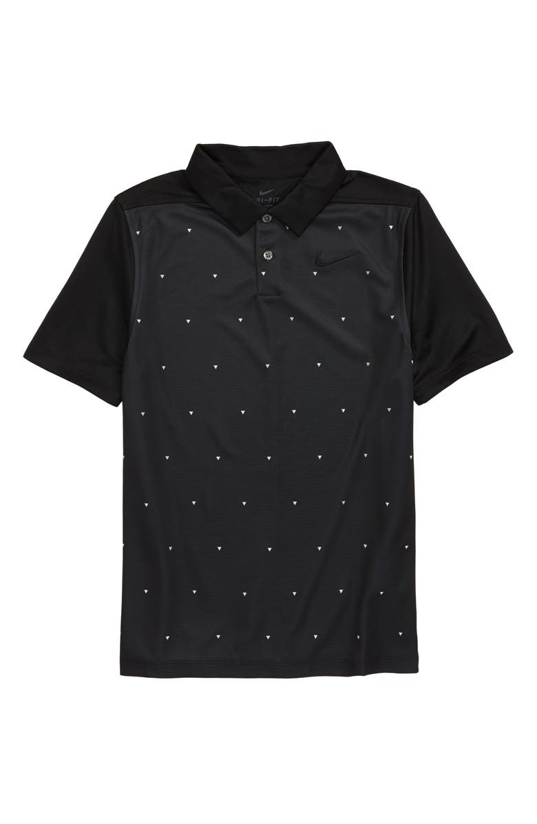 NIKE Triangle Print Dri-FIT Golf Polo, Main, color, 010