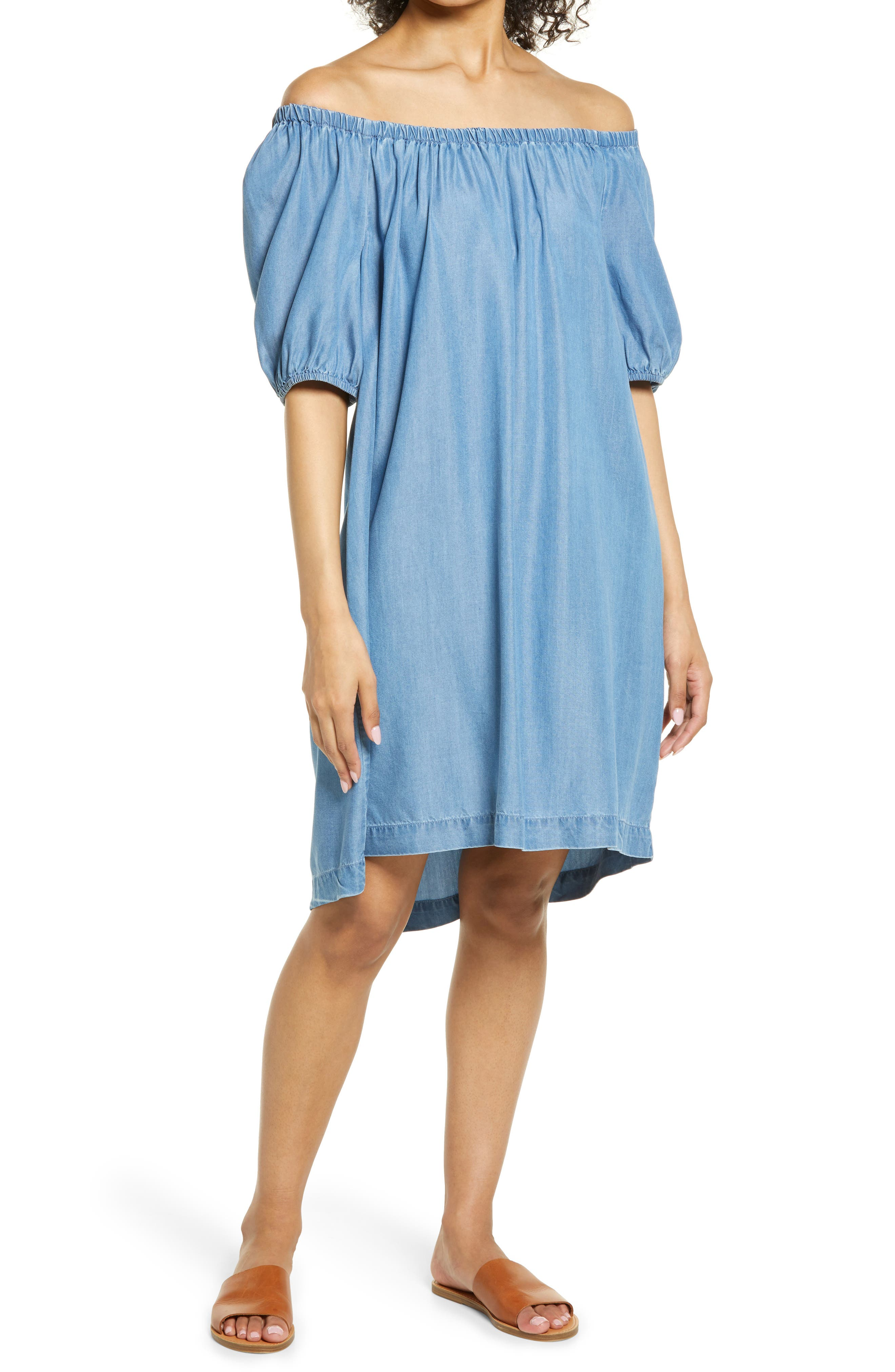 Ceyda Off The Shoulder Chambray Dress