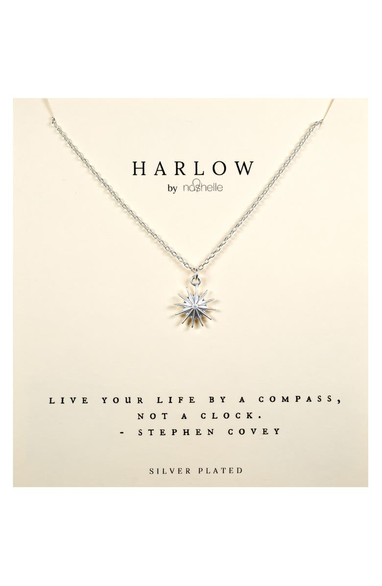 NASHELLE HARLOW by Nashelle Compass Boxed Necklace, Main, color, SILVER