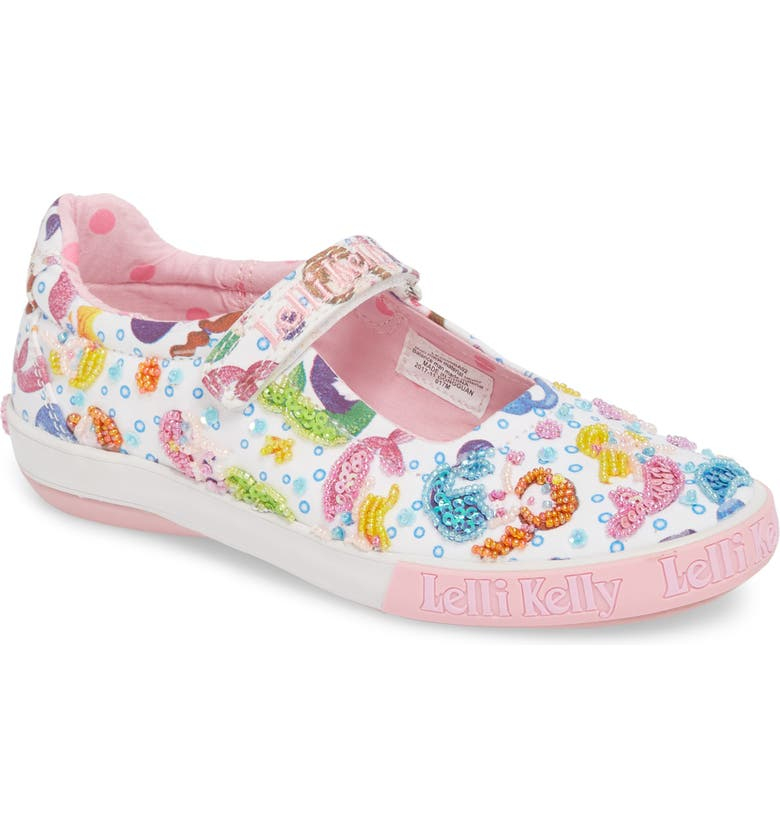 LELLI KELLY Beaded Mary Jane Sneaker, Main, color, WHITE