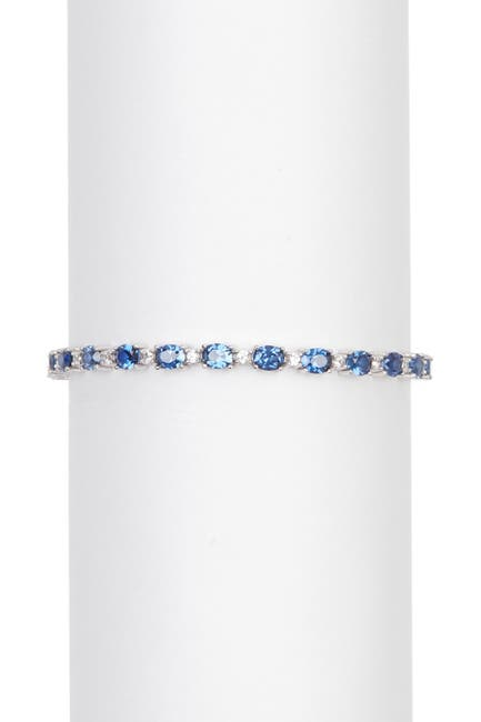 Image of Suzy Levian Sterling Silver Oval Blue & White Sapphire Bracelet