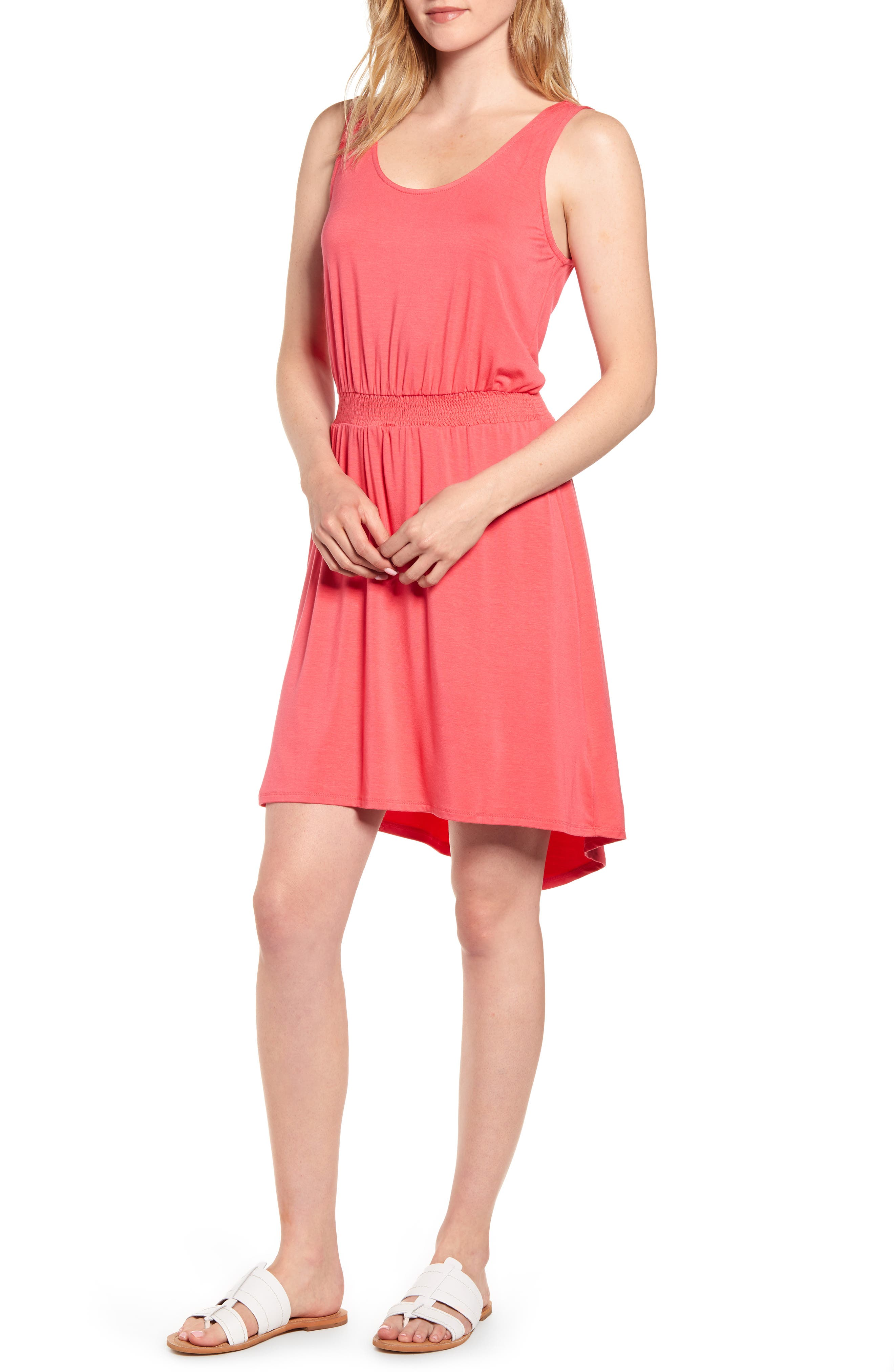 Petite Gibson X The Motherchic Palms Smocked Waist Easy Dress, Coral