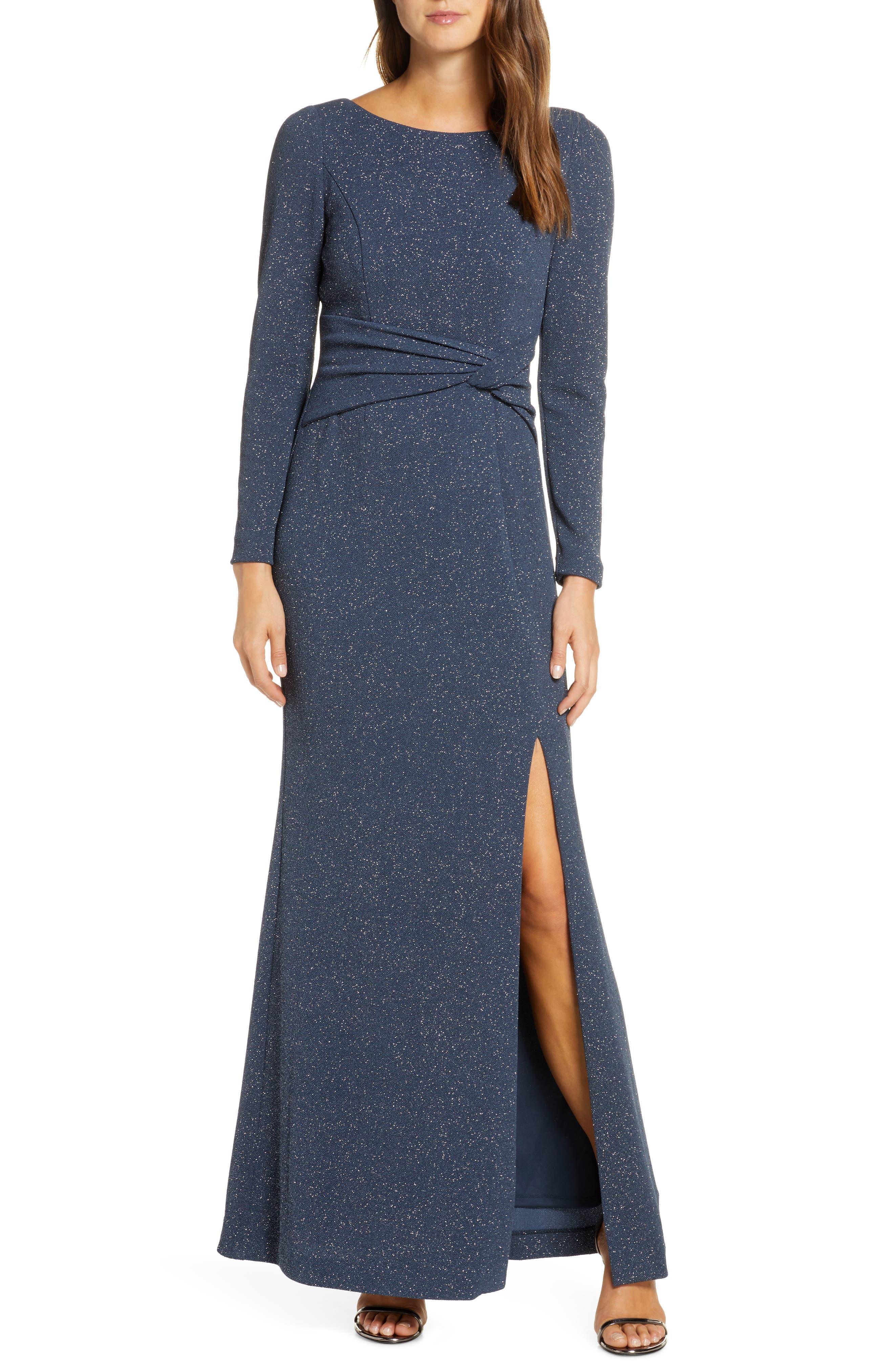 Petite Vince Camuto Bateau Neck Long Sleeve Sparkle Gown, Grey