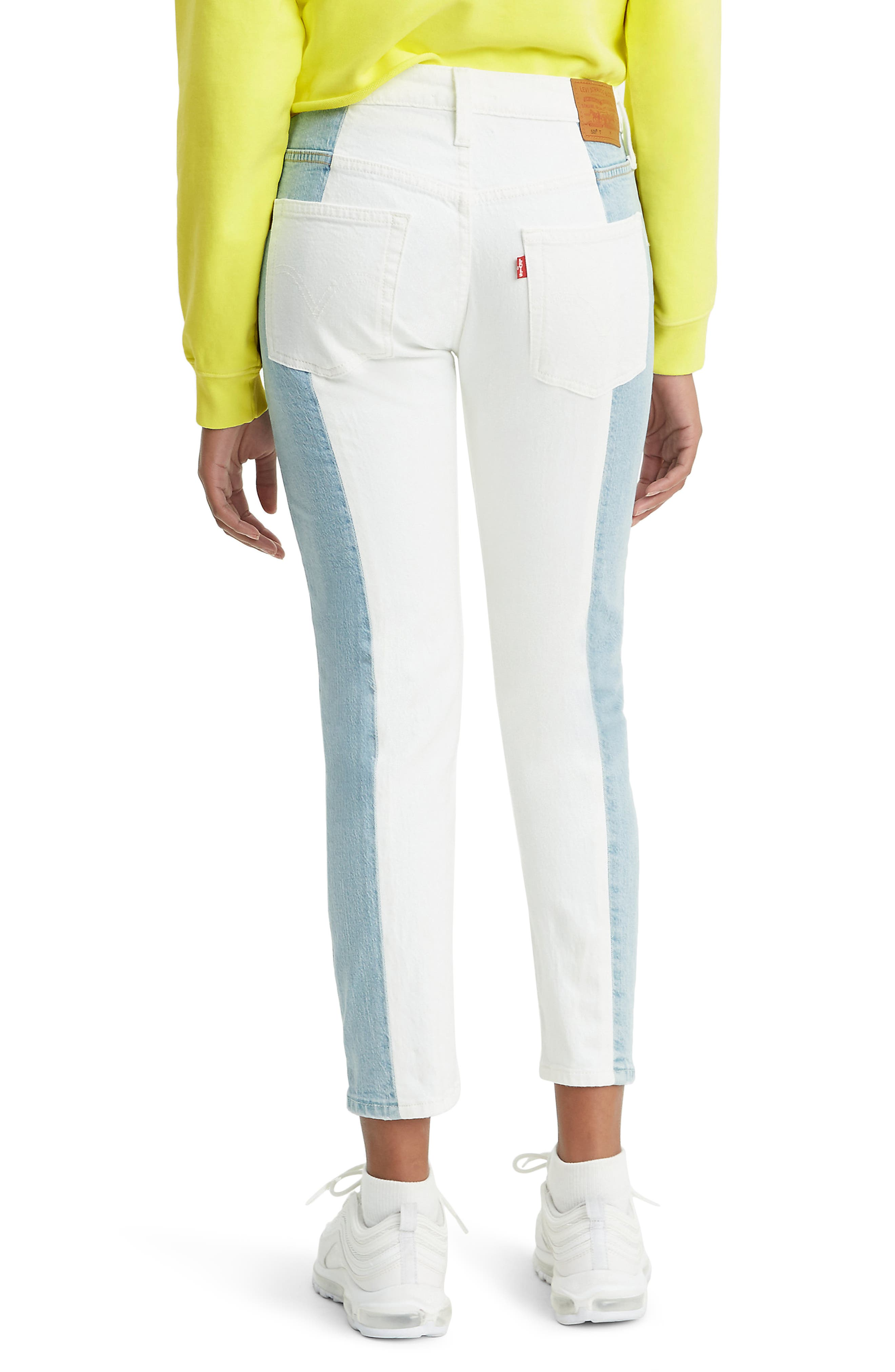 ,                             501<sup>®</sup> Colorblock High Waist Crop Jeans,                             Alternate thumbnail 2, color,                             SLICED AND DICED