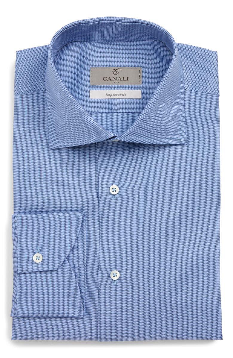 CANALI Regular Fit Solid Dress Shirt, Main, color, BLUE
